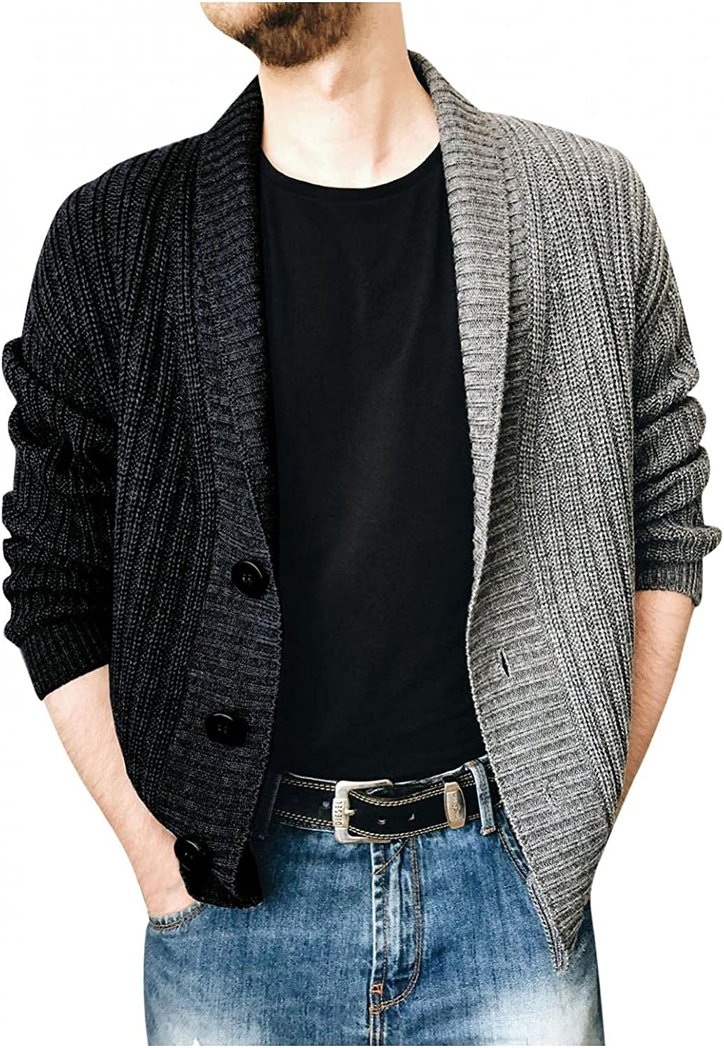 VEKDONE Mens Cable Knit Cardigan Sweater Casual Slim Fit Contrast Colors Stitching Lapel Thermal Button Down Closure