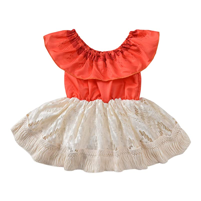 Toddler Infant Baby Girl Clothes Lace Halter Backless Jumpsuit Dress Tulle Sundress Outfits kebugcli738553