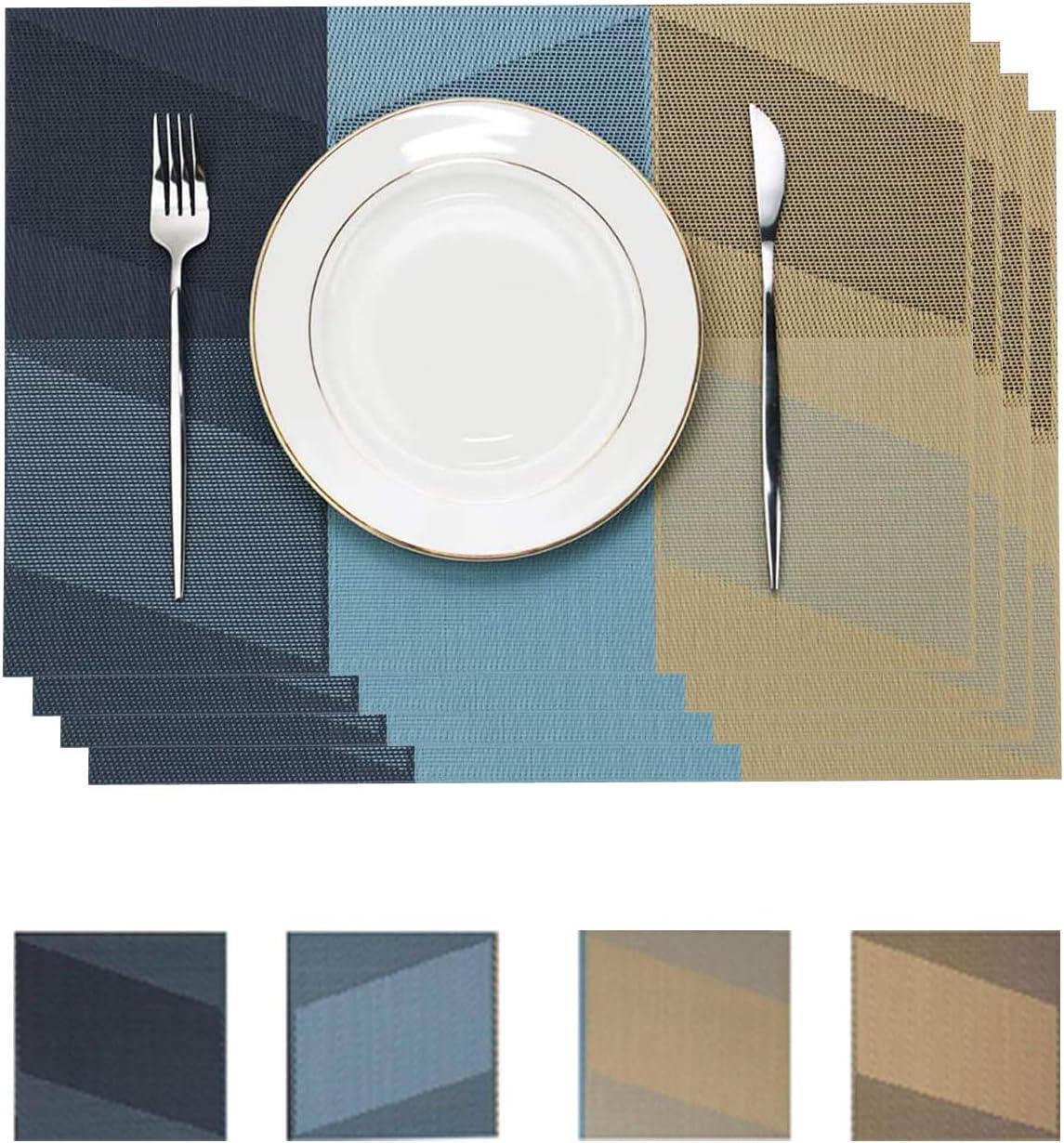 Lot de 8 sets de table et dessous de verre lavables avec isolation thermique antid/érapants 45 x 30 cm Bleu g/éom/étrique