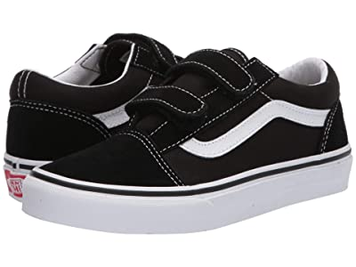 Vans Kids Old Skool V (Big Kid) (Black/True White) Kids Shoes