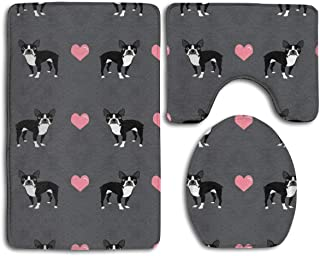 TERPASTRY Boston Terrier Love Hearts Bathroom Rug Mats Set 3 Piece Toilet Carpet Rugs Includes Contour Mat and Lid Cover Non Slip Absorption Mat Machine Wash/Dry Perfect Mats for Tub Shower
