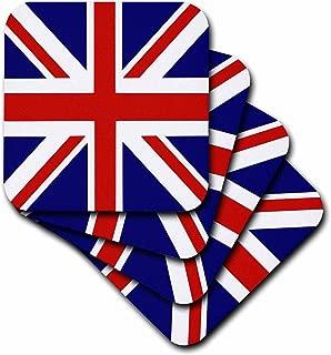 3dRose CST_159852_1 British Flag Red White Blue Union Jack Great Britain United Kingdom UK England English Souvenir Gb Soft Coasters, Set of 4
