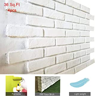 Faux Brick Wall Panels, 3D Wall Panels FRP in Rustic Style for Bedroom Dining Hall Restaurant Coffee Bar Decor, Ancient Surface Hard Design (1 Box, Matt White, NL)