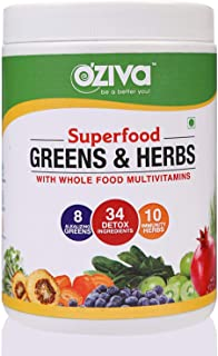 OZiva Superfood Greens & Herbs (Supergreens powder with Vitamin C, Vitamin E, Amla, Chlorella, Spirulina), Enhanced Immunity Booster for Adults & Detoxification, 250g
