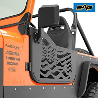 EAG US Flag Tubular 2 Door with Reflection Mirror Fit for 76-95 Jeep CJ7 / YJ Wrangler
