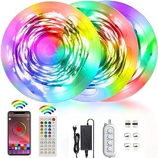 Akfado RGB LED Strip Lights 15m, 5050 RGB Bluetooth LED Lights with Remote Control Music Sync Color Changing Rope Light fo...