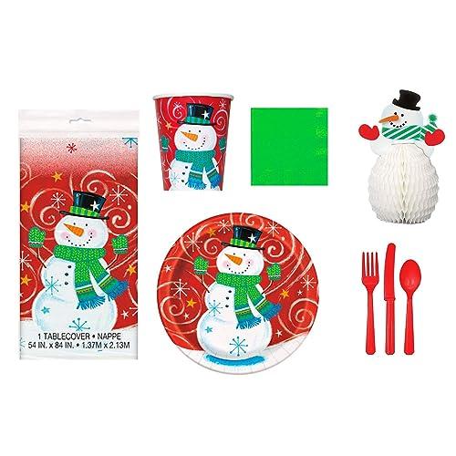 Kids Christmas Party Tableware Napkins Plates Table Cover Xmas Santa