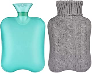 Hot Water Bottle, Sararoom 2L Large Capacity Hot Water Bottle with Washable Removable Knitted Bottle Cover for Warm or Cold Use, Quick Pain Relief-Gray Knitted