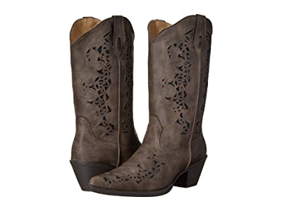 Roper Alisa (Brown Faux Leather/Metallic Underlay) Cowboy Boots