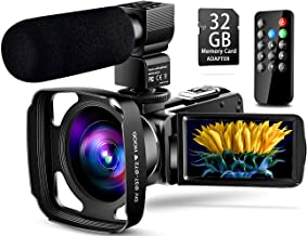 【Full Upgrade】 Ultra HD Video Camera Camcorder with Powerful Microphone 1080P Vlogging YouTube Camera Remote Control 3.0