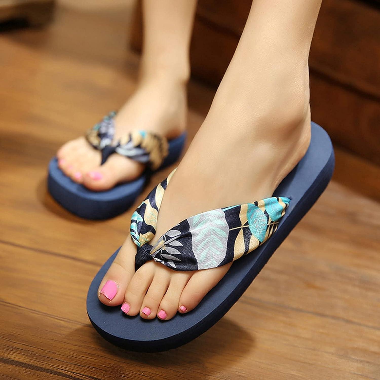 Women Bohemian Flip Flops Sandals Hawaiian Beach Vacation Shoes, Summer Casual Home Bath Slide Thong Sandals