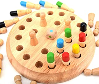 Wooden Memory Matchstick Chess Game,Educational Intelligent Logic Game and Kid IQ Brain Teaser Game Family Party Casual Game for Boys and Girls Age 3 and Up