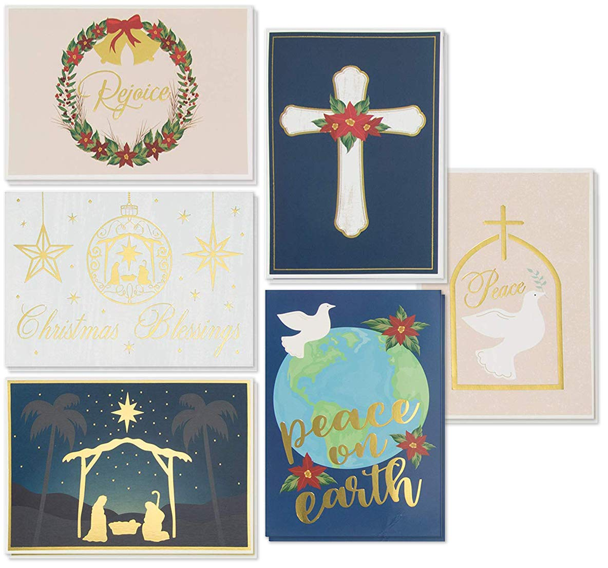 48-Pack Christian Christmas Cards - Holiday Greeting Cards Bulk Box Set, 6 Gold Foil Designs with Gold Paper Envelopes…