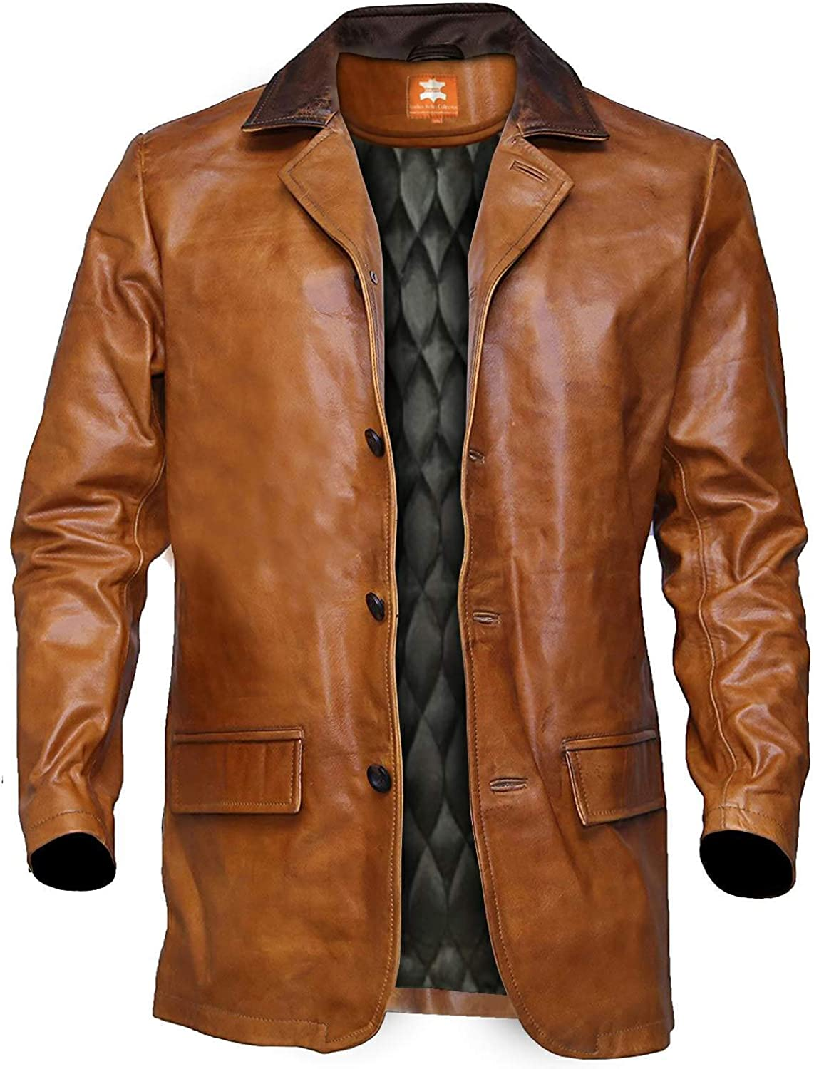 Men's Brown Distressed Leather Trench Coat, Genuine Lambskin, Vintage Style Long Coat, Winter Essentials