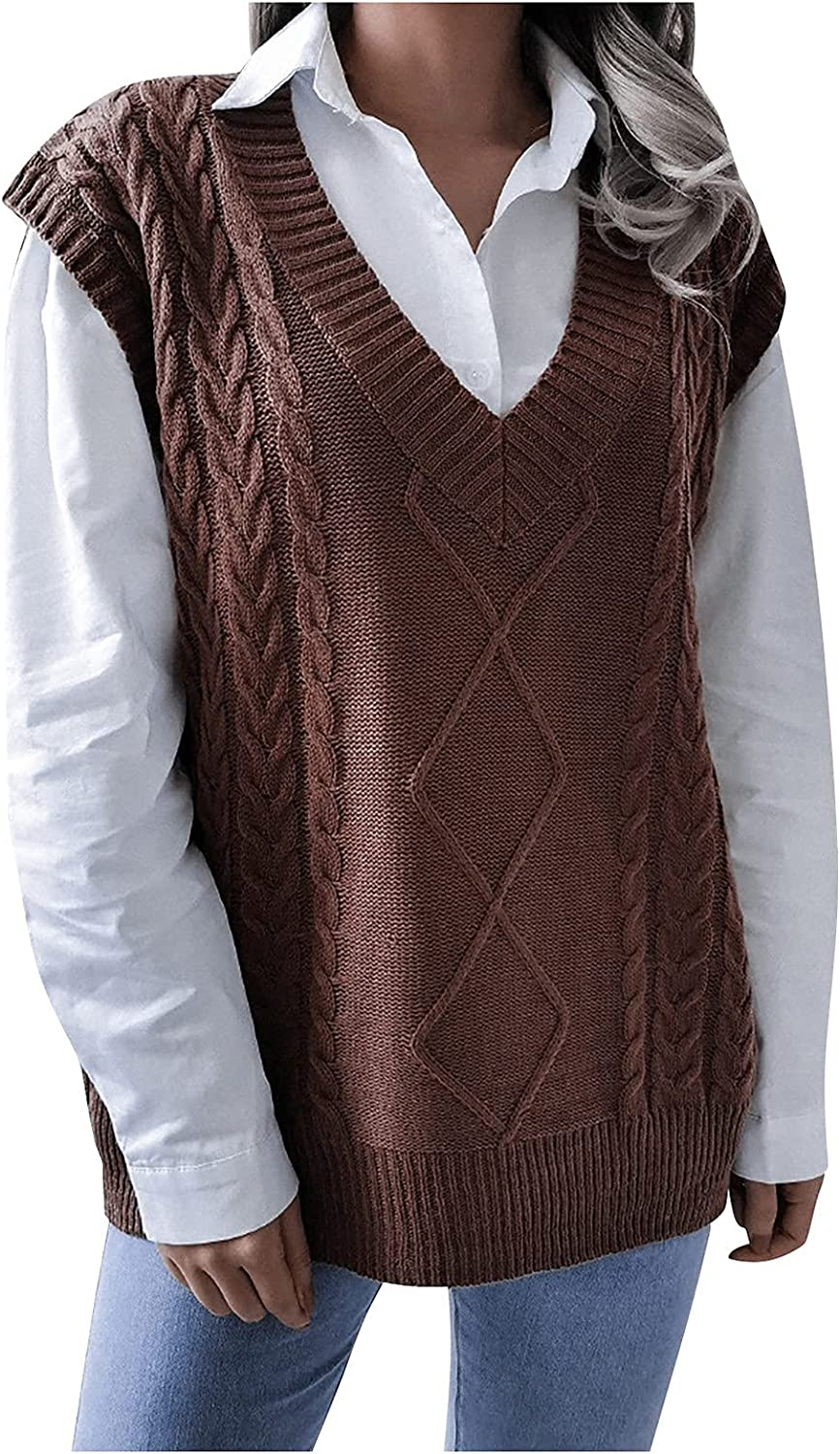 Sweater Vest Women College Style Fashion Casual Loose Knit V-Neck Hollow Argyle Sweaters Tops