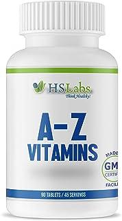 HSLabs A-Z VITAMINE Mineraler Multivitaminer 90 tabletter Hög dos Män Kvinnor Innehåller 12 vitaminer 8 mineraler (90 flikar)