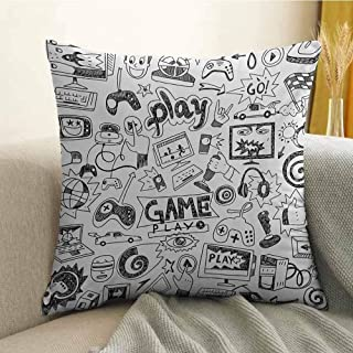 Antony Petty Video Games Bedding Soft Pillowcase Monochrome Sketch Style Gaming Design Racing Monitor Device Gadget Teen 90s Hypoallergenic Pillowcase W20 x L20 Inch Black White