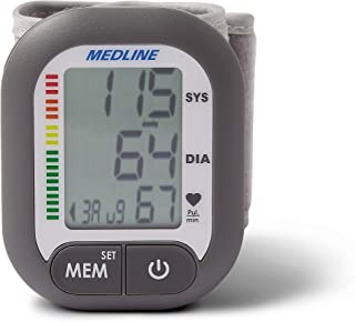 Medline Digital Wrist Blood Pressure Monitor, BP Cuff with Batteries Included (60 Reading Memory)