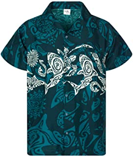 Camisa Hawaiana enrrollada Hombres XS-6XL Manga Corta Bolsillo Frontal Hawaiano-Imprimir Maori Impresión En El Pecho