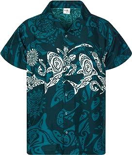 KAMEHAMEHA King Kameha Hawaiian Shirt for Men Funky Casual Button Down Very Loud Shortsleeve Unisex Maori Chestprint