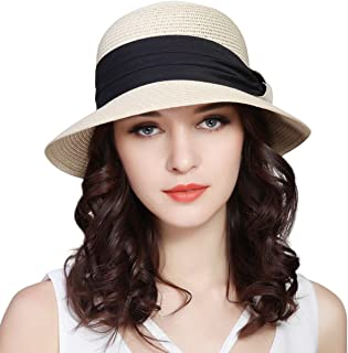 Lanzom Women UPF50+ Wide Brim Fedora Beach Sun Hat Straw Roll up Cap