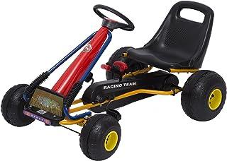 HOMCOM Go Kart Coche de Pedales Racing Deportivo para Niños 3-8 Años con Asiento Ajustable Embrague y Freno 96x68x56cm Acero Negro