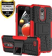 RioGree LG Aristo 2 Case, LG Aristo 3/Rebel 4 LTE/Aristo 2 Plus/Tribute Dynasty/Empire/Zone 4/Phoenix 4/Fortune 2/Risio 3/K8 Plus + 2018 Phone Case, with Screen Protector Kickstand Boys Girls, Red