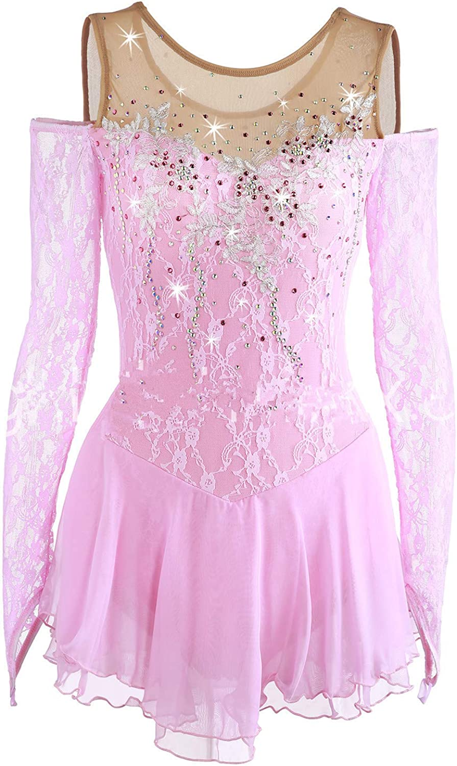 Heart&M Ice Skating Dress For Girls, Handmade Figure Skating Competition Performance Costume With Lace Long Sleeved Pink