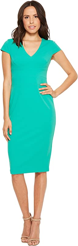 Donna Morgan Cap Sleeve Fitted Stretch Crepe Sheath Dress