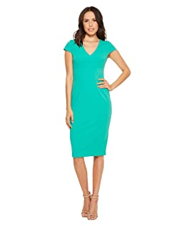 Cap Sleeve Fitted Stretch Crepe Sheath Dress