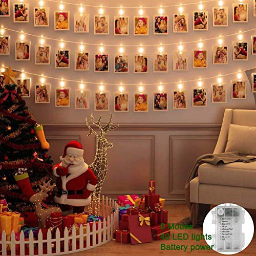 LED Photo Clip Lights 40 pcs LED Picture Lights Battery Powered Bedroom Decorations Hanging Photos Cards Twinkling Fairy String Lights Christmas Birthday Party Wedding Decoration Light Warm White