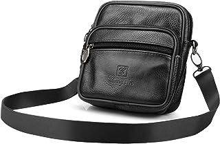 Bagzy Men's Leather Small Men's Bag Belly Bag Men Shoulder Bag Case Mobile Phone Case Business Case Tactical Phone Holster Belt Shoulder Bag Brown