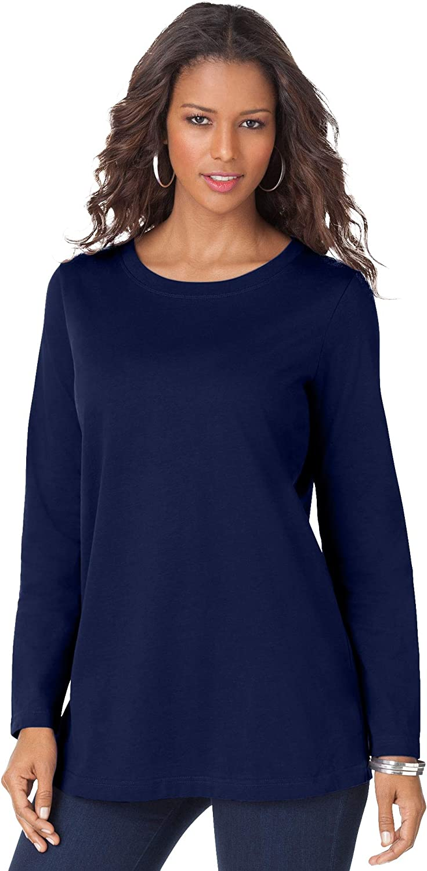 Roamans Women's Plus Size Long-Sleeve Crewneck Ultimate Tee Shirt