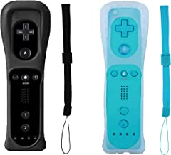 Poglen 2 Packs Wireless Gesture Controller for Nintendo wii/wii u Console - with Silicone Case and Wrist Strap for wii Controller (Blue and Black)