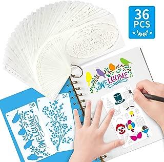 36 PCS Journal Stencil Plastic Planner Set for Journal Notebook Diary Scrapbook DIY Drawing Template Bullet Journal Stencil 3x5.4 Inch
