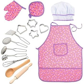 set Chef Set per i bambini Cucina Giochi di Ruolo Cook costume con il grembiule da cuoco cappello utensili da cucin 11pcs