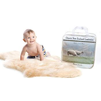 New Zealand Baby Sheepskin, Ethically Sourced, Silky Soft Natural Length Wool, Un-Shorn Baby Care Lambskin Rug, Premium Quality, LRG 34-36 inches in Length