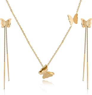 Stainless Steel Butterfly Necklace Earrings Set for Women 14K Gold Plated Hypoallergenic Jewelry Sets
