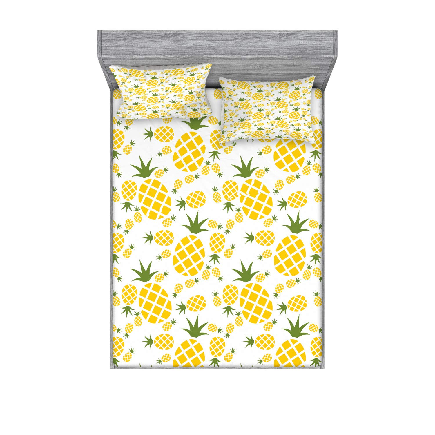 Amazon Com Lunarable Pineapple Fitted Sheet Pillow Sham Set Pineapple In Pictogram Design Vintage Style Pattern Farm Vibrant Color Decorative Printed 3 Piece Bedding Decor Set Full Olive Green Home Kitchen