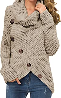 Women's Casual Turtle Cowl Neck Asymmetric Hem Wrap...