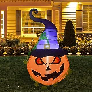 GOOSH 5FT INFALTABLE Halloween Pumpkin with The Wizard HAT Blow Up Inflatables Halloween Outdoor Yard Decoration