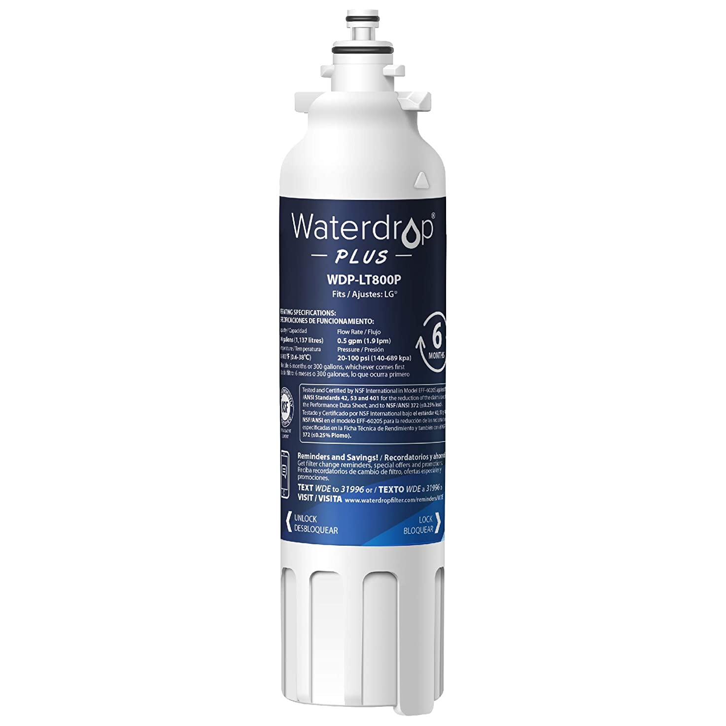 Waterdrop Plus ADQ73613401 Refrigerator Water Filter, Compatible with LG LT800P, Kenmore 9490, LSXS26326S, LMXC23746S, 469490, ADQ73613402, LMXC23746D, LSXS26366S, Reduces Lead, Chlorine, Cyst, Benzene and More, NSF 401&53&42 Certified