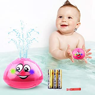 Bath Toys, Baby Bath Toys LED Light Up Bathtub Toys with 3 Alkaline Batteries and Screwdriver Water Spray Shines Toy for Kids Toddler Baby Boys Girls Gifts