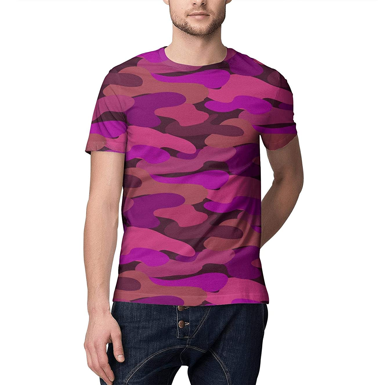 Unique Round Collar World Map Military Camo Printed Shirts for Man