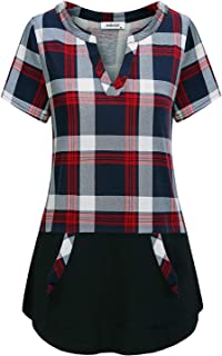 AxByCzD Women's Short Sleeve Plaid Color Block Casual Tunic Tops with Pockets