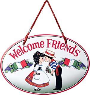 Essence of Europe Gifts E.H.G Welcome Friends Traditional Italian Boy & Girl Welcome 11x8 Ceramic Door Sign by E.H.G.