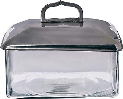 Better & Best Caja de Cristal Rectangular con Tapa Grande Plateada con asa en Forma de Arco, Aluminio con tramiento Plata Antigua, 22.00x17.00x17.50 cm: Amazon.es: Hogar