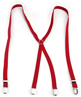 TOPTIE Unisex Skinny Suspenders 1/2 Inch, Adjustable X-Back Suspenders with Heavy Duty Clips Wholesale-Red-1 pcs