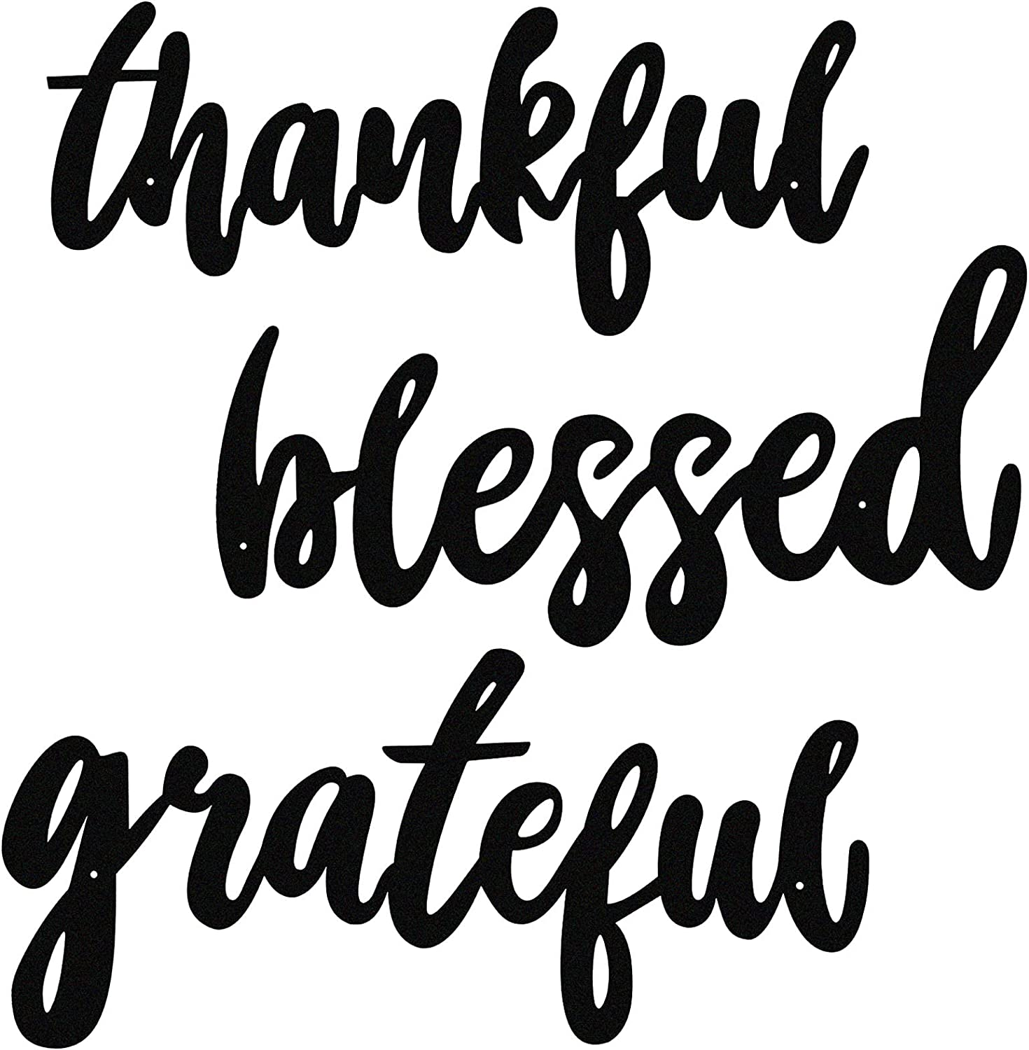 3 Pieces Thankful Grateful Blessed Word Sign Thanksgiving Letter Wall Sign Metal Letter Home Wall Art Decoration Rustic Farmhouse Metal Cutout for Indoor, Outdoor, Living Room and Bedroom