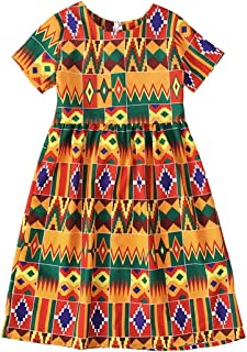 YOUNGER TREE Girls African Outfits Summer Clothes Strap Off-The-Shoulder Short Sleeve Dashiki Style Dresses Kids Girl Skirt